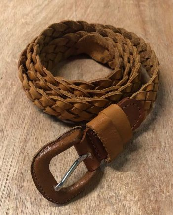 Thin Leather Braided Belt
